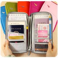 Travel Wallet Passport Holder Tickets ID Card Case Document Organiser Zipper Bag