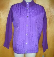 NWT NEW womens ladies size PL purple IACTIVE l/s sweater quilted jacket $40