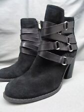 Adrienne Vittadini MAYA Black Suede Zip Casual Ankle Boot Heel Pump Women 7 M