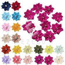 10pcs Belles Fleur Rose Satin Ruban Mariage Fête Décoration 28*30mm RN0034