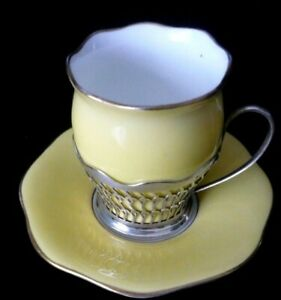 1918 Elkington & Co Sterling Silver Coffee Can Holder With Coalport Cup & Saucer