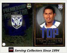 2011 NRL Strike Top Tryscorer TS3 Ben Barba (Bulldogs) + Predictor Card