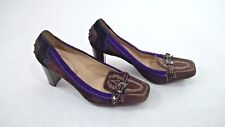 Tods Brown Suede Leather Heel Pumps Belted Purple Italian Driving Style 37.5 / 6