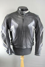 TARGA BLACK & SILVER/GREY LEATHER BIKER JACKET WITH REMOVABLE CE ARMOUR 44 INCH