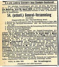k.k. priv. Lemberg- Czernowitz- Jassy Eisenbahn- Gesellschaft Wien Anzeige 1910