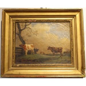 Antique original swiss 1825 Original Cows Oil canvas Painting signed