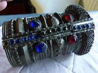 Turkoman Manschette Armband Armreif, antik, silberfarbenes Metall, Stift fehlt