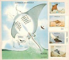 Angola 1992 - Rays - fish complete set + S/S MNH