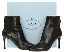NEW PRADA LUXURY BLACK LEATHER LOGO COMFORT HEELS ANKLE BOOTS SHOES 38/US 8
