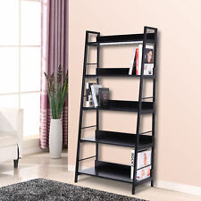 HOMCOM Heavy Duty Wooden Bookcase Leaning Ladder Shelves 5 Tiers