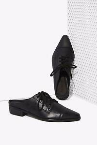 """BNWT SHAKUHACHI  """"Your Point Is""""  Leather Mules Flats Slides - Size  39 - $350"""