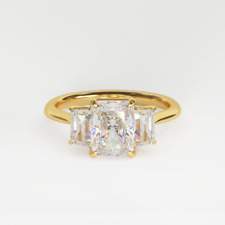 2.50ct SI Three Stone Diamond 14k Gold Engagement Ring