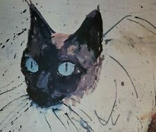 1950s Beautiful MCM Siamese Cat Print Giclee by Mid Mod Artist Hug 27x21 Canva
