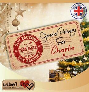 CC03 24x 80x40mm Personalised Christmas Santa Kraft Gift Sticker Labels