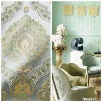 SALE! Designer Brocade Satin Fabric- Antique Pastel Blue And Yellow- Upholstery