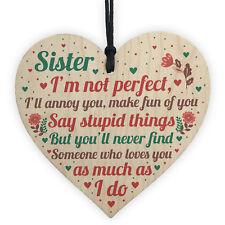 Funny Sister Birthday Christmas Card Gifts Wood Heart Friendship Keepsake Plaque