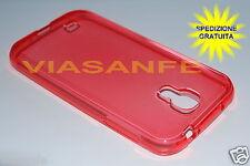 COVER CUSTODIA CASE PER SAMSUNG GALAXY S4 i9500 TRASPARENTE ROSSA GEL SILICONE