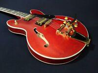 "Haze SEG-1975WRDS Wine-Red Semi-Hollow Body,""F"" Holes Electric Guitar +Free Bag"