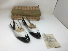 1951 Valentines Dolly Best Women's Saddle Shoes Heels Black White In Box Size 8