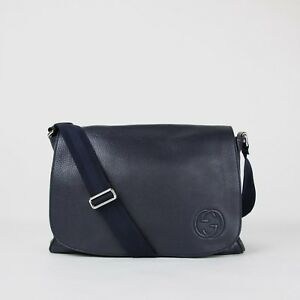 Gucci Navy Blue Leather SOHO Diaper Messenger Bag with Changing Pad 356521 4009