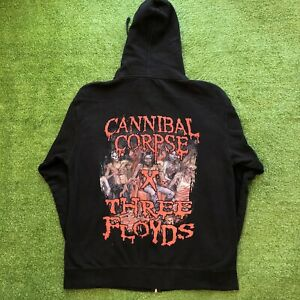 Rare Cannibal Corpse x Three Floyds Amber Smashed Face Full Zip Hoodie size L XL