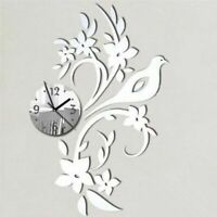 Wall Clock Acrylic Mirror Bird Floral Designed Home Living Room Decoration Watch