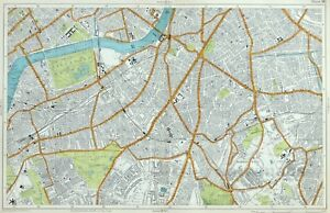 LONDON, 1919 - CLAPHAM, BATTERSEA, BRIXTON, LAMBETH, Original Antique Map