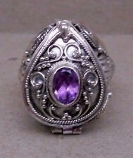 Handmade Sterling Silver Amethyst Poison or Keepsake or Cremation Ring Sz  6-7-8