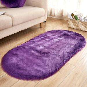 Faux Fur Fluffy Shaggy Solid Area Rug Balcony Oval Floor Carpet Bedroom Decor