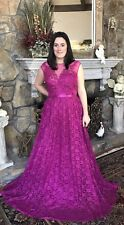 Womens Plus Dress 3X Long Lace XXXL 22 24 Gorgeous Magenta Spring Formal Prom