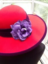 RED AND PURPLE WOOL HAT HANDMADE BY SCALA FOR RED HAT SOCIETY
