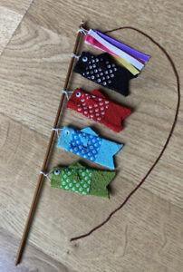 mini Koinobori 4 carp steamer on stick Japanese fish decorative