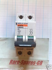 *TESTED* MERLIN GERIN MULTI 9 DOUBLE POLE 2A MCB C2 2 Amp C60HC 25654 SCHNEIDER