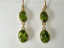 Peridot double drop earrings 9ct rose gold oval faceted French hook 2.72 carats