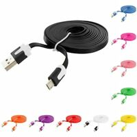 6 FT Noodle Flat Micro USB Data Charging Cable Charger Cord 6FT for Phones