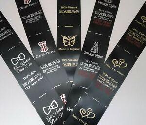Sew in clothing garment label craft business handmade bespoke Black Satin