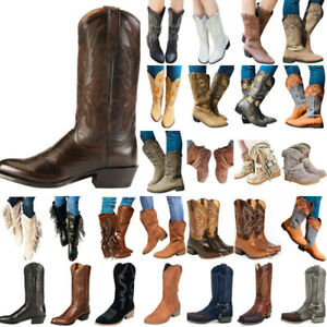 Women Vintage Western Cowboy Boots Low Block Mid Calf Booties Cowgirl Shoes Size