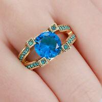 Classic Round Blue Aquamarine Wedding Ring 10KT Yellow Gold Filled Band Size 7