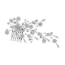 Bridal Floral Rhinestones Crystal Prom Wedding Tiara Hair Comb 71085