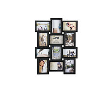 ~ Black Multi Aperture Photo Picture Frame - Holds 12 X 6''X4'' Photos ~ 1014BK