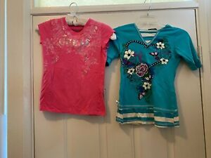 Lot Girls T-Shirts Guess pink floral & Self Esteem Butterfly Hooded S/S L (14)