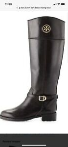 Tory Burch Dark Brown Leather Riding Boot Flat Equestrian Bootie 4.5 Gold Logo