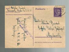 1941 Tarnowitz Poland Germany Postcard Cover to Myslowitz Police Woman Prisoner