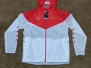Nike USATF Track & Field Running Rain Track Jacket White Red CK0880-100 Sz L