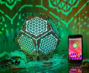 """Interior Smart LED Lamp """"Flower of Life"""" wooden sacreed geometry psychedelic"""