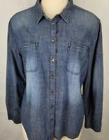 GH Bass Company Womens Size XL Blue Button Up Collard Long Sleeve Shirt Blouse