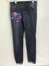Ed Hardy Womens jeans 27x33 Loves Kills Slowly straight leg with cuffs