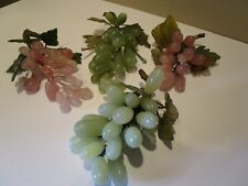 Vintage Chinese Carved Stone Fruit Carnelian & Jade Grapes w/ Leaves Pink/Green