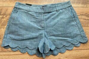 "J.CREW J. CREW JCREW Scallop Bottom Blue Denim Jean Casual 4"" Shorts 6 new NWT"