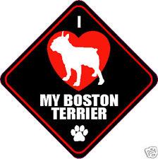 "I LOVE (HEART) MY BOSTON TERRIER DOG 4"" STICKER"